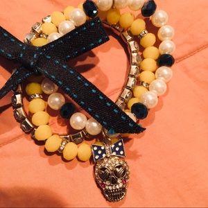 Betsy Johnson Skull Bow Bracelet